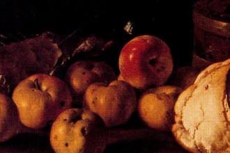 'Bodegón pan, peras, queso y recipientes', Meléndez.