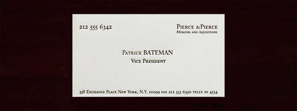 Tarjeta de visita de Patrick Bateman. 'American Psycho'.