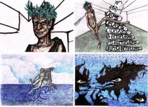 Dibujos de Enrique Marty para su corto de animación All your world is pointless.