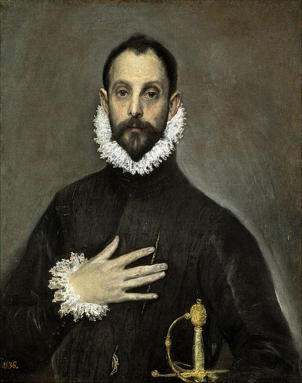 """El caballero de la mano en el pecho, 1580, El Greco - Follow me, Muse La fuerza hipnotizante de los retratos del Greco llega a su cima en esta obra sobria y psicológica. Delante de ella, la mirada impenetrable y el gesto elegante del perfecto hidalgo castellano parecen gritar desde el otro lado el """"follow me"""" de la banda británica."""