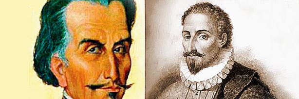 Imágenes de Garcilaso y Cervantes.