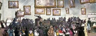 Sala de subastas de Christie`s en 1808.