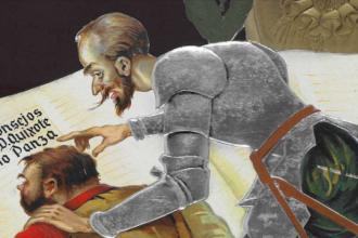 Fragmento de un calendario digitalizado por la BNE. Calendario mural 1936. Don Quijote y Sancho Panza Reclamos Jules Gerzon S.A. Barcelona