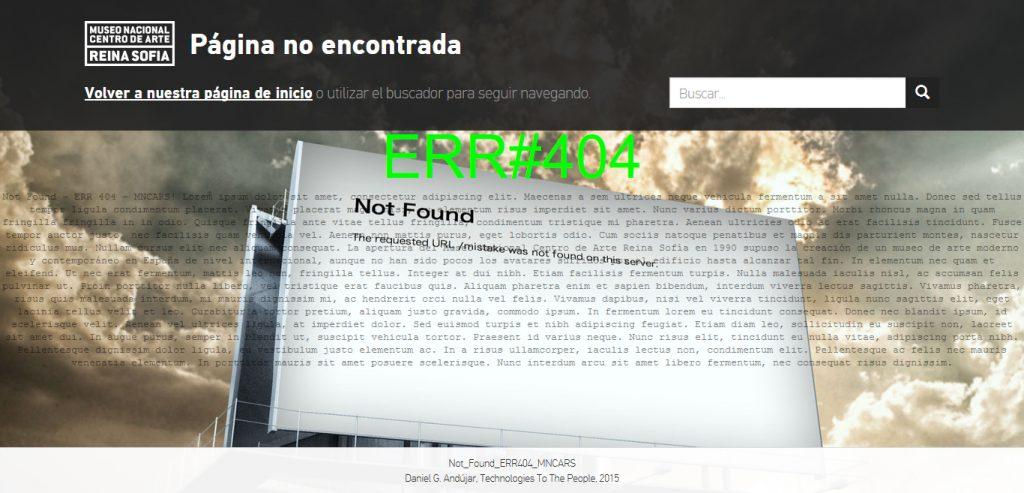 Error 404 del Museo Reina Sofía.