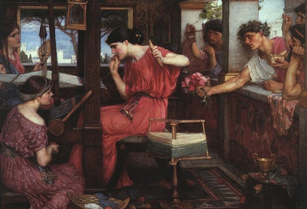 'Penélope y sus pretendientes', John William Waterhouse, 1912.