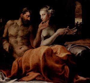 'Penélope y Ulisse en el lecho nupcial', 1563 ca, dipinto di Francesco Primaticcio, New York, Sammlung Wildenstein