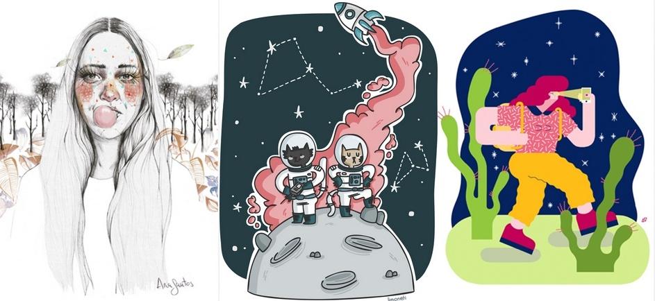 Dibujos por los que donar de las ilustradoras Ana Santos, Limoneti y Alva Vilardebò.