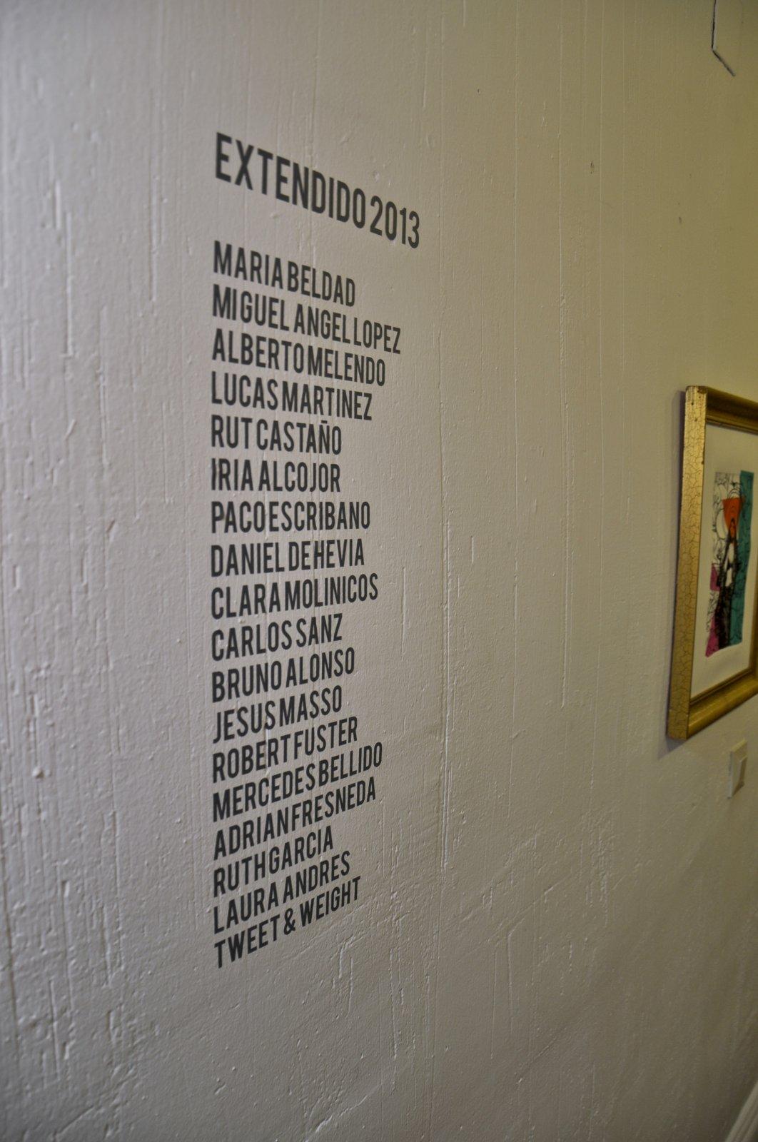 14. Nombre de los artistas participantes en Extendido 2013.