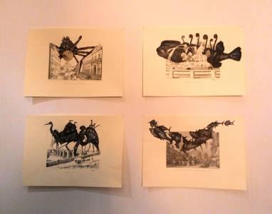 Obra de Marco Alom en la pared de la habitación de Artizar