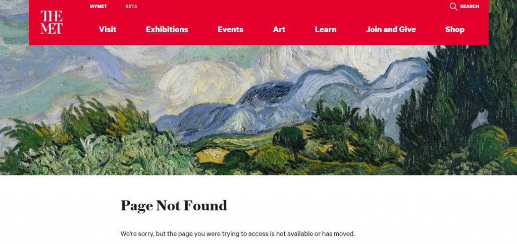 Error 404 del MET de Nueva York.