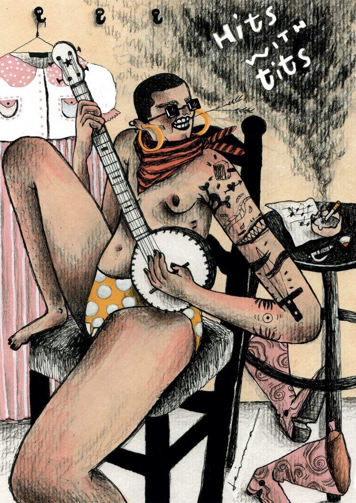 Postal de Deima Jonusaityte para Hits With Tits.