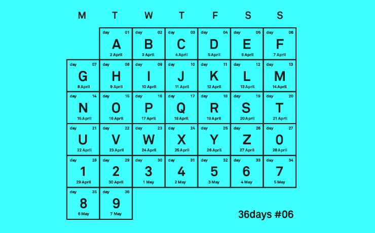 Calendario #36daysoftype.