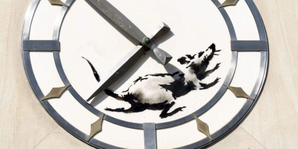 Rata en un reloj, Banksy.