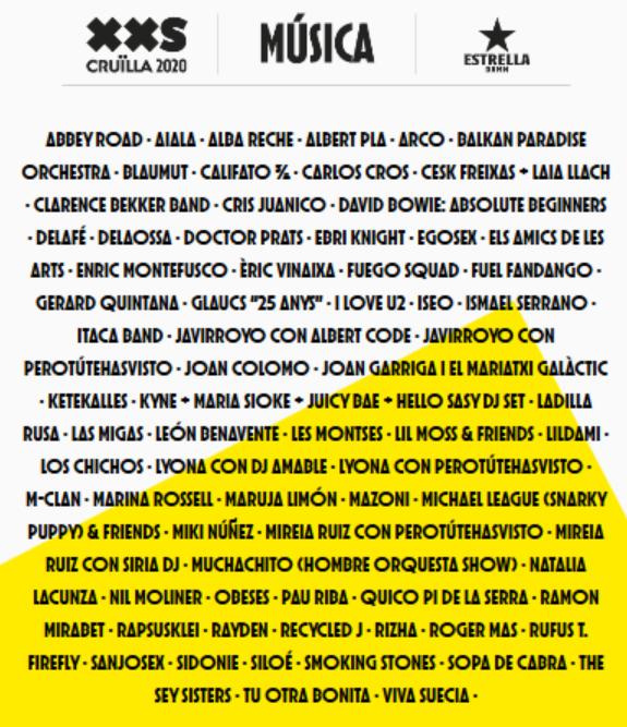 Cruïlla XXS. Un festival para 2020.