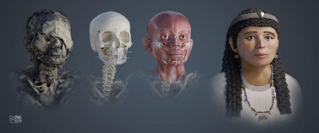 Reconstrucción facial en 3D de una momia egipcia del periodo Ptolemaico.